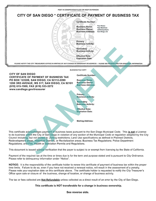 Business Tax Certificate Sample