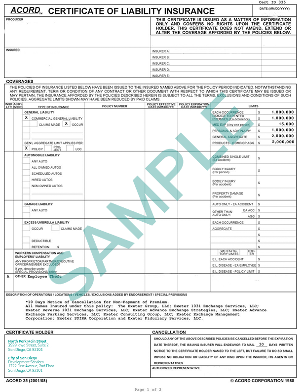 Certificate of Insurance Sample